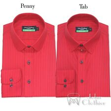 Red Blue stripes Mens Penny collar Cotton shirt Tab collar Loop collar for Gents