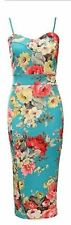 Womens  Ladies Cami Strappy Back  Green Floral Print Bodycon Midi Dress 8-22