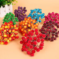 40pcs Christmas Foam Frosted Fruit Artificial Holly Berry Flower Home Decor Pro.