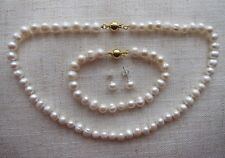 """Cultured Pearl Necklace + Bracelet + Earrings Sets 7/8mm; from 15 1/4"""" -18"""" long"""
