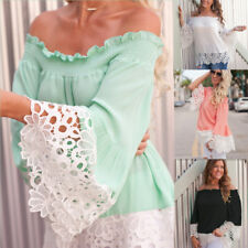 Women's Fashion Summer Off Shoulder Long Sleeve Casual Blouse Loose Tops T Shirt