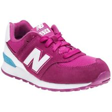 New Infants New Balance Pink 574 Suede Trainers Retro Lace Up