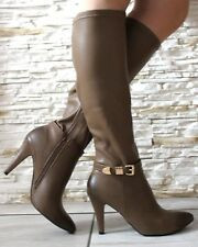 NEW WOMENS KHAKI MID HIGH STILETTO HEEL KNEE HIGH GOLD BUCKLE BOOTS SHOES SIZE