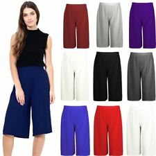 New Ladies ¾ Culottes Wide Leg Trousers Shorts Summer Fashion Stylish Pants