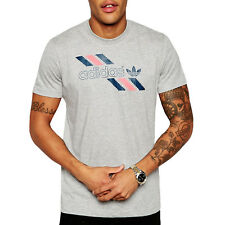 ADIDAS ORIGINALS da uomo lineare Tee Short Sleeve T-shirt a girocollo top grigio