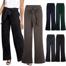 NEW LADIES WOMENS PLEATED PALAZZO TROUSERS FLARE WIDE LEG LONG CULOTTE TIE PANTS
