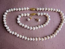 """Cultured Pearl Necklace + Bracelet + Earrings Sets 7/8 mm; from 16"""" - 18"""" long."""