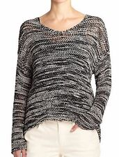 BNWT $228 Eileen Fisher Space Dyed Cotton Tape BLACK / WHITE Boxy Top M L XL