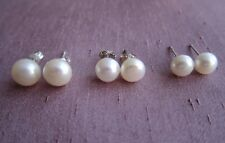 Cultured Pearl 925 Silver Stud Earrings - White  Off White - 7-10 mm.