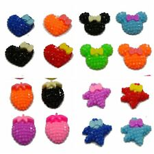 50 Mixed Color Flatback Resin Dotted Rhinestone Cabochon with Bows Various Shape