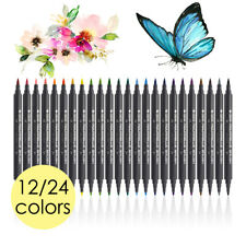 STA 12/24-Color Dual Head Watercolor Drawing Painting Sketching Brush Marker Pen