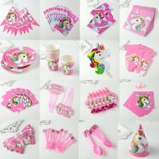 Unicorn Theme Party Decoration Happy Birthday Paper Cup Plated Hat Popcorn 4EE5