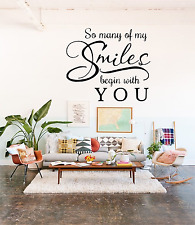 So Many Smiles Transfer Quote Wall Art Decal NQ18