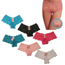 3 X Ladies Flower Design Bridal Lacy Boxer Underwear Knickers Panties Boy Shorts