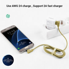 Braided 90 Degree Right Angle USB Micro USB Data Sync Fast Charging Cable 0346