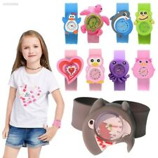 Cute Adorable Cartoons Children Slap Snap On Silicone Quartz Wrist Watch 3B8F