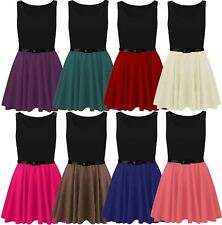 Womens Plus Size Sleeveless Belted 2 In 1 Contrast Colour Flared Skater Dress