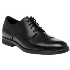 New Mens Rockport Black Dp Modern Cap Toe Leather Shoes Lace Up