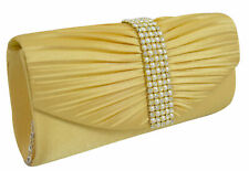 Ladies Girls Satin Pleated Evening Party Wedding Prom Envelope Clutch Hand Bag