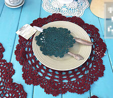 Cotton Yarn Hand Crocheted Table Placemat Round Wine Red CR08