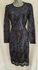 BNWT New LIPSY Navy Blue Black Embroidered Lace Bodycon Pencil Midi Dress 10 £85
