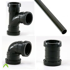 32mm Black Push fit Waste Pipe and Fittings 45 & 90 Bends, Swept Tee Coupler