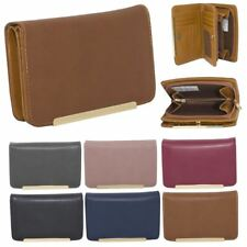 New Ladies Synthetic Leather Metallic Trim Plain Simple Wallet Purse
