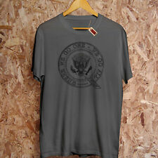 Q ANON Presidential Seal Follow The White Rabbit Red Pill Conspiracy T-Shirt