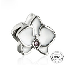 Originale Charm Argento Sterling S925 White Enamel Orchid Charms Beads Flowers