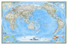 National Geographic Maps World Classic Pacific Centered Enlarged Wall Map