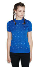 Fred Perry Polka Dot Fitted Jumper - Summer Short Sleeves - Blue - 6 8 10 XS S M