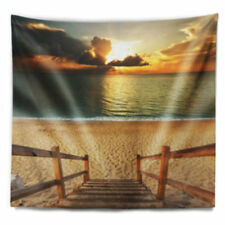 East Urban Home Bridge Boardwalk Stair Into Sandy Beach Tapestry