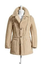 Maison Martin Margiela For H&M Beige Suede Leather Sheep Reversed Coat Jacket