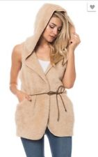 Women Faux Fur Sleeveless Hoodie Waistcoat Tops Cardigan Gilet Jacket Coat Vest