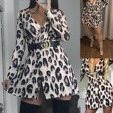 Womens Lurex Glitter Animal Print Wrap Skater Dress Long Sleeve Plunge V Neck