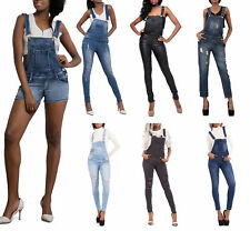 Women Ripped Denim Full Length Dungaree Overall Jeans Jumpsuit Size 8- 14