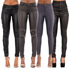 Women Black High Waist Leather Style Lace up Skinny Trousers Size 8 10 12 14 16