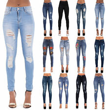 NEW WOMENS LADIES SKINNY FIT RIPPED JEANS FADED STRETCHY DENIM SIZE 6-14