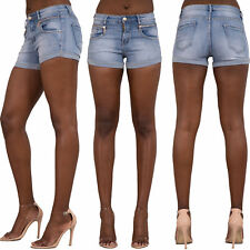 WOMEN'S TURN UP HEM DENIM SHORTS Hot Pants Soft Jeans Faded Zip Pockets SIZE6-12