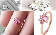 Rose Gold Silver Plated Pink Crystal Paw Cat Claw White Lotus Adjustable Ring