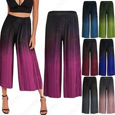 LADIES PLEATED DIP-DYE CULOTTES WOMENS TROUSERS FLARED CROP TROUSERS 3/4 PANTS