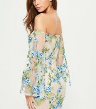 MISSGUIDED Nude Bardot Embroidered Mesh Bodycon Dress (M17/25)