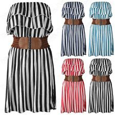 WOMENS STRIPE PRINT LAYERED FRILL TOP BELTED DRESS LADIES SLEEVELESS SUMMER LOOK
