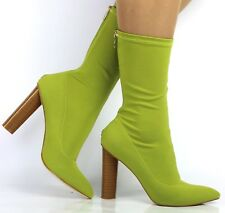 LADIES PUBLIC DESIRE GREEN APPLE LYCRA SOCK FIT TIGHT ANKLE BOOTS HEELS SHOES