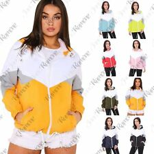 New Womens Colour Block Windbreaker Contrast Festival Hooded Zip Up Jacket Coat