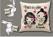 "Personalised Cushion Cover 18x18"" Glitter Gift  ~BEST FRIENDS GIRL NAME"