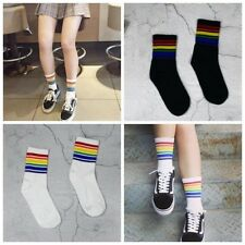 Cool Skateboard Short Rainbow Socks Art Women Fashion White Cotton Cocks Hipster