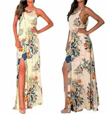 New Strappy Cut Out Detail Floral Print Ladies Summer Maxi Dress