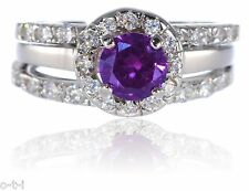 White Gold Sterling Silver Brilliant Amethyst Engagement Wedding Three Ring Set