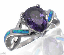 Love Amethyst Purple Heart CZ Blue Opal Ring Wedding Engagement Sterling Silver